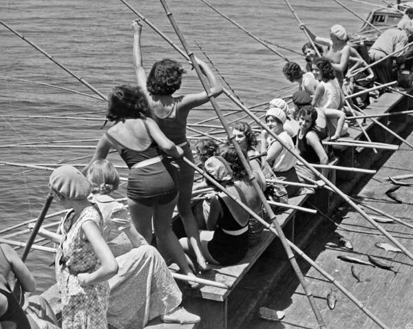 1933 Photograph - Women Fishing With Cane Poles by Underwood Archives