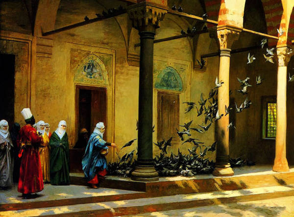Wall Art - Painting - Women From Harem Feeding Pigeon by Celestial Images