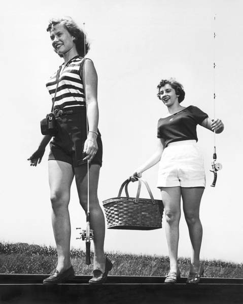 Picnic Basket Wall Art - Photograph - Women Going Fishing by Underwood Archives