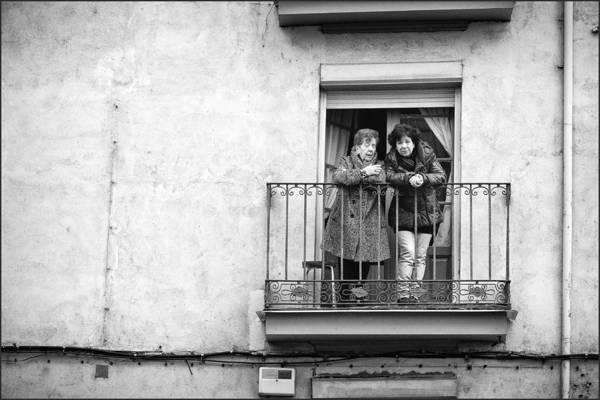 Women In Balcony Art Print