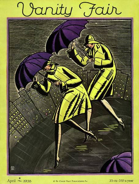 Yellow Background Photograph - Women In The Rain by Marion Wildman