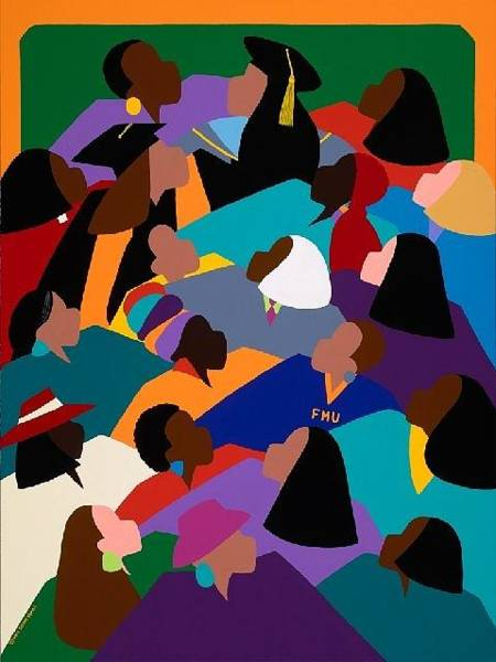 African Women Painting - Women Lifting Their Voices by Synthia SAINT JAMES