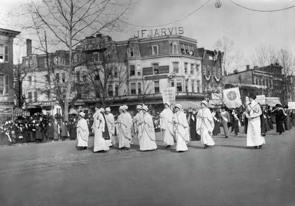Wall Art - Photograph - Women Marching At The Woman Suffrage by Stocktrek Images