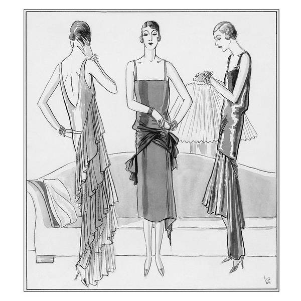 Women Model Evening Dresses Art Print