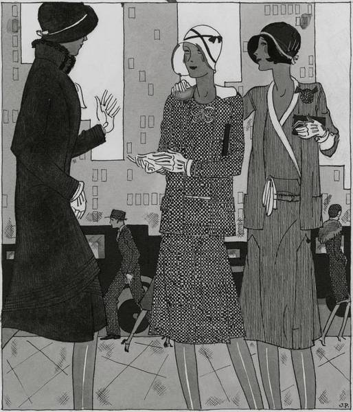 Black And White Digital Art - Women On A City Street Wearing Yvonne Carette by Jean Pages
