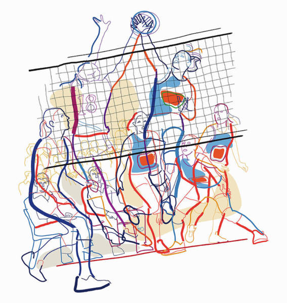 Lifestyles Digital Art - Women Playing Volleyball by Guido Rosa