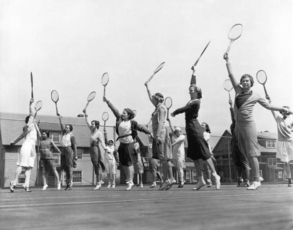 Exertion Wall Art - Photograph - Women Practicing Tennis by Underwood Archives