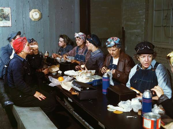 Roundhouse Photograph - Women Railway Workers At Lunch by Library Of Congress
