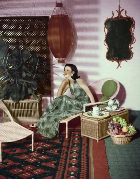 Screen Photograph - Women Sitting In Living Room by Karen Radkai