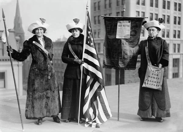 Wall Art - Photograph - Women Suffrage Hikers With American by Stocktrek Images