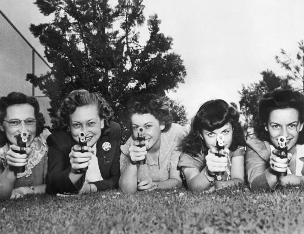 Head And Shoulders Photograph - Women Take Weapons Training by Underwood Archives