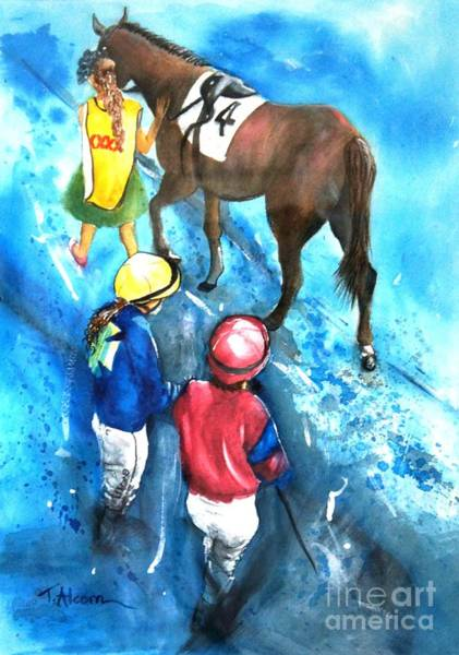 Guache Painting - Giddy Up Girls by Therese Alcorn