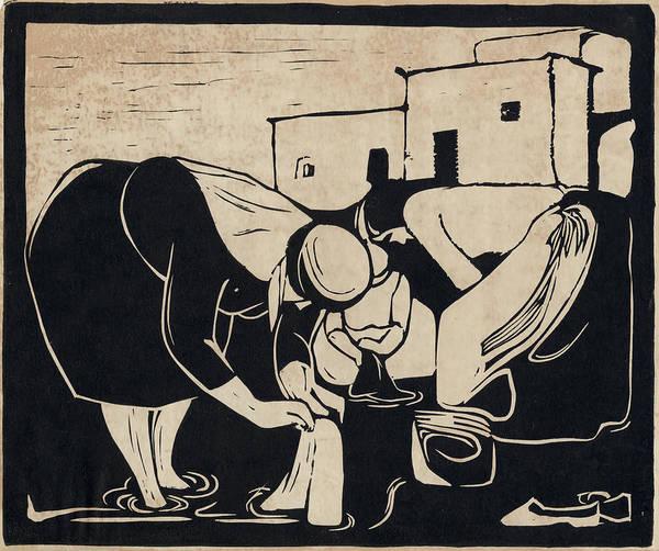 Drawing - Women Washing Clothes by Mamoun Sakkal
