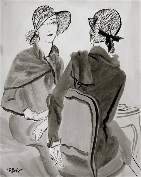 Chair Digital Art - Women Wearing Agnes Hats by Rene Bouet-Willaumez