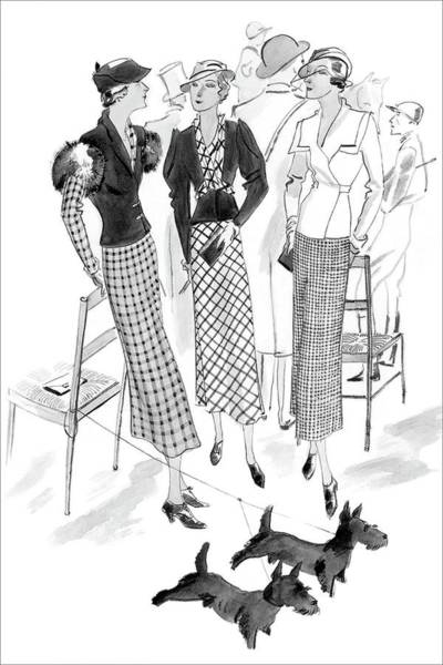 Chair Digital Art - Women Wearing Checked Suits by Jean Pages