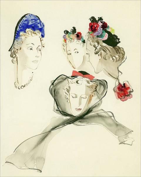 White Background Digital Art - Women Wearing Hats by Rene Bouet-Willaumez