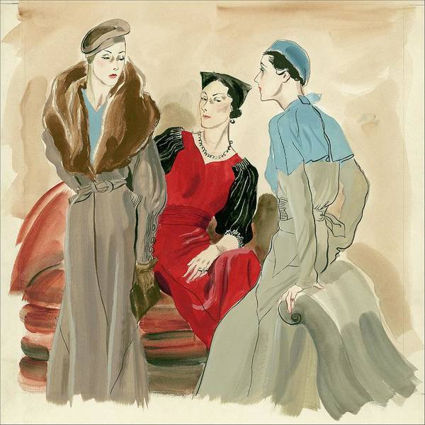 Old Fashioned Digital Art - Women Wearing Jeanne Lanvin by Rene Bouet-Willaumez