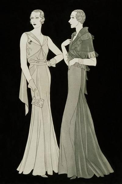 Evening Gown Digital Art - Women Wearing Mainbocher Dresses by Douglas Pollard