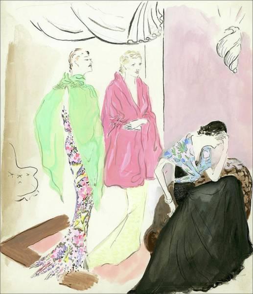 Curtain Digital Art - Women Wearing Molyneux by Marcel Vertes