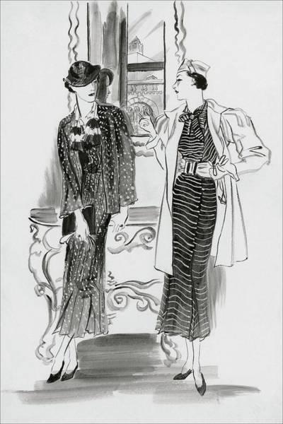 Vogue Digital Art - Women Wearing Patterned Dresses by Rene Bouet-Willaumez