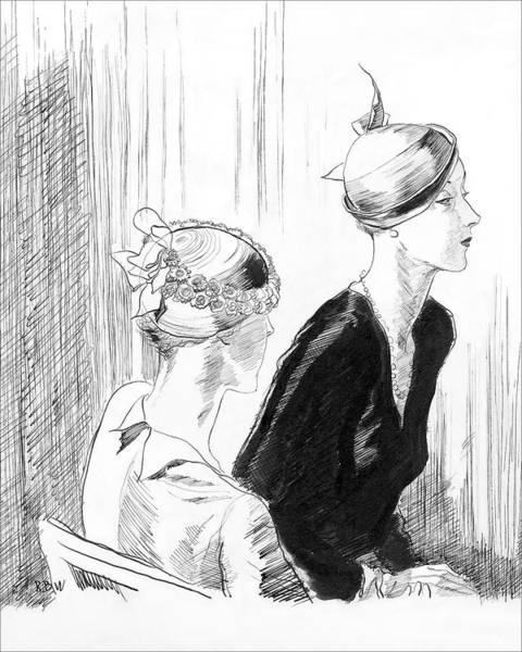 Sitting Digital Art - Women Wearing Reboux Hats by Rene Bouet-Willaumez