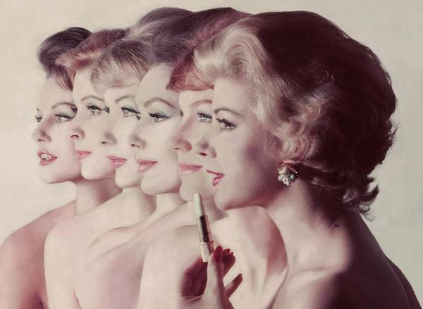 Group Of People Photograph - Women Wearing Revlon Lipstick by John Rawlings