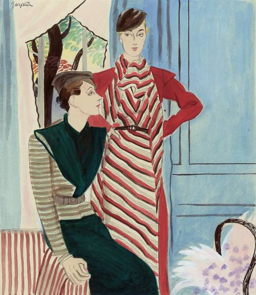 Chair Digital Art - Women Wearing Stripes by R.S. Grafstrom