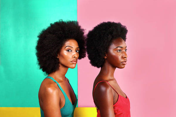 Neckline Photograph - Women With Afros On Colorful Backdrop by Naila Ruechel