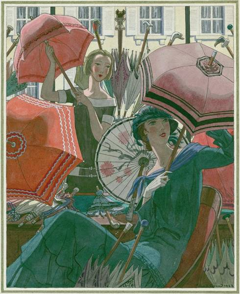Headgear Digital Art - Women With Parasols by Pierre Brissaud