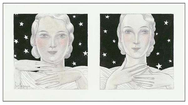 Night Sky Digital Art - Women With Stars by Georges Lepape