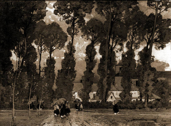 Wall Art - Drawing - Women With Umbrellas Walking And Trees In Background, East by Litz Collection