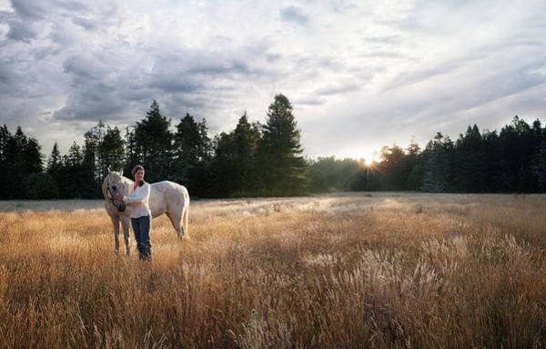 Exploration Photograph - Women With White Horse In Forest Meadow by Justin Lewis