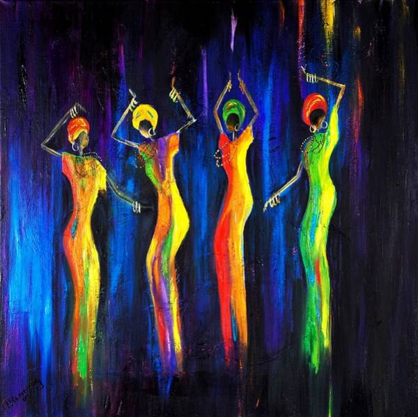 African Dance Painting - Womens Day Celebration In South Africa by Marietjie Henning