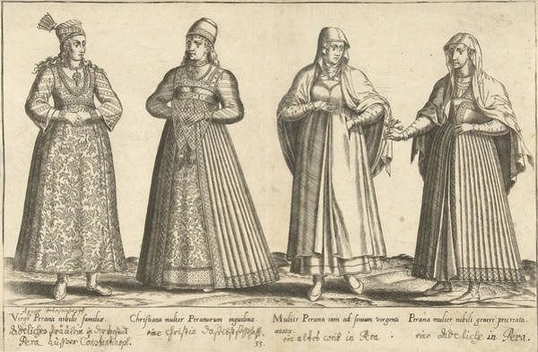 Pregnancy Drawing - Womens Dress From Constantinople Around 1580 by Abraham De Bruyn And Joos De Bosscher