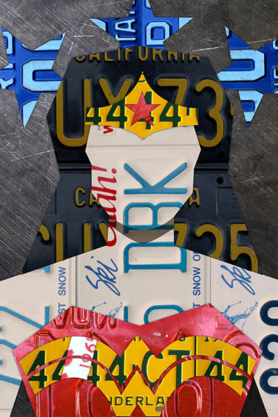 Wall Art - Mixed Media - Wonder Woman Superhero Portrait Recycled License Plate Art by Design Turnpike