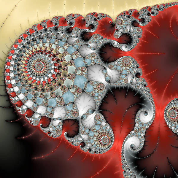 Digital Art - Wonderful Abstract Fractal Spirals Red Grey Yellow And Light Blue by Matthias Hauser