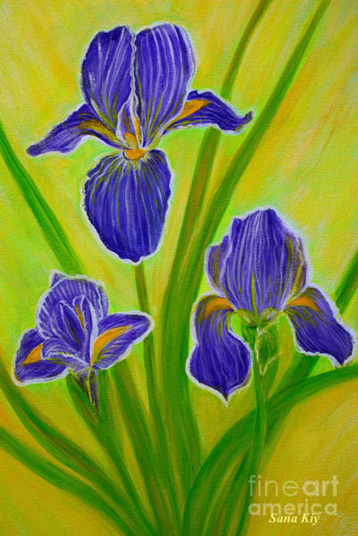 Painting - Wonderful Iris Flowers 3 by Oksana Semenchenko