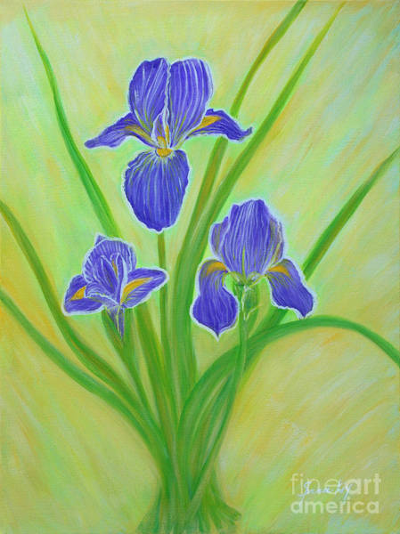 Painting -  Wonderful Iris Flowers. Inspirations Collection. by Oksana Semenchenko