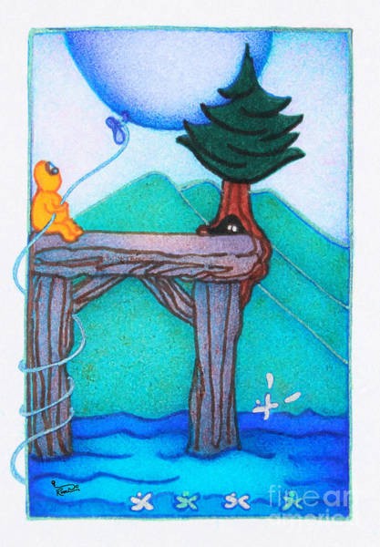 Wall Art - Painting - Woobies Character Baby Art Colorful Whimsical Landscape Dock Design By Romi Neilson by Megan Duncanson
