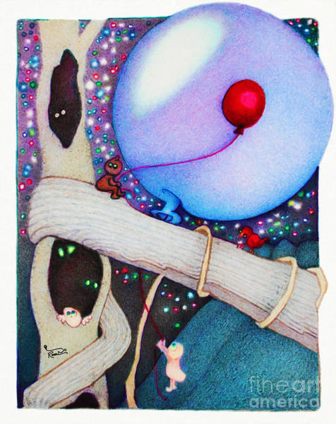 Wall Art - Painting - Woobies Character Baby Art Colorful Whimsical Tree House Design By Romi Neilson by Megan Duncanson