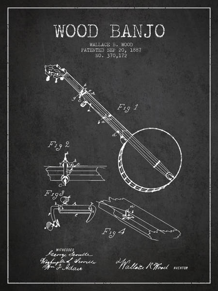 Country Living Digital Art - Wood Banjo Patent Drawing From 1887 - Dark by Aged Pixel