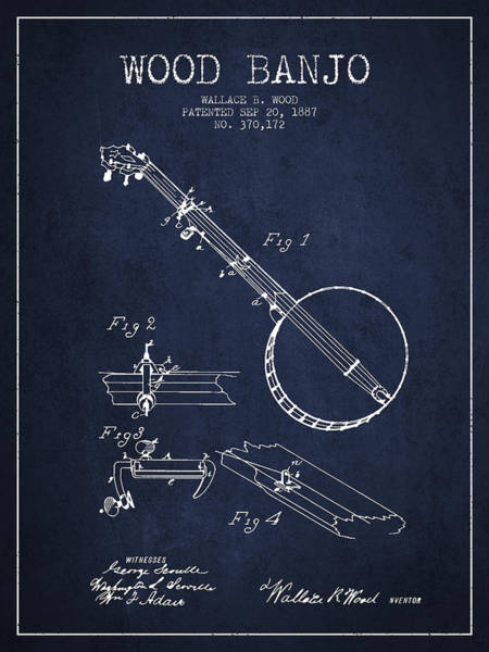Country Living Digital Art - Wood Banjo Patent Drawing From 1887 - Navy Blue by Aged Pixel