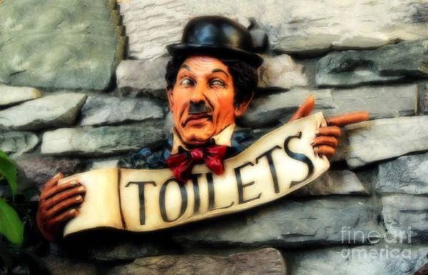 Toilet Photograph - Wood Carved Toilet Sign by Marjorie Imbeau