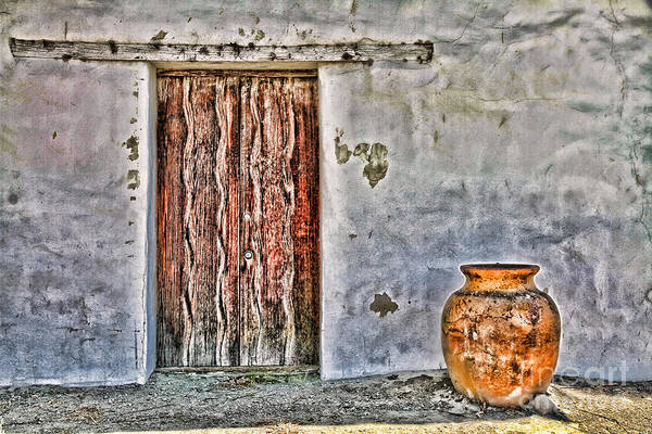Photograph - Wood Door And Clay Pot By Diana Sainz by Diana Raquel Sainz