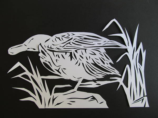 Cut-out Mixed Media - Wood Duck Paper Cut by Alfred Ng