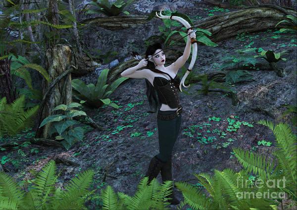 Digital Art - Wood Elf Archer Female In Woods by Elle Arden Walby