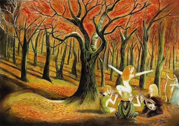 Harp Mixed Media - Wood Elves by Ilias Patrinos