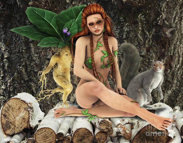 Digital Art - Wood Fairy by Jutta Maria Pusl