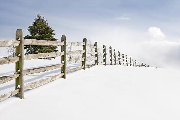 Photograph - Wood Fence - Old Wood Fence In The Pristine White Snow by Gary Heller