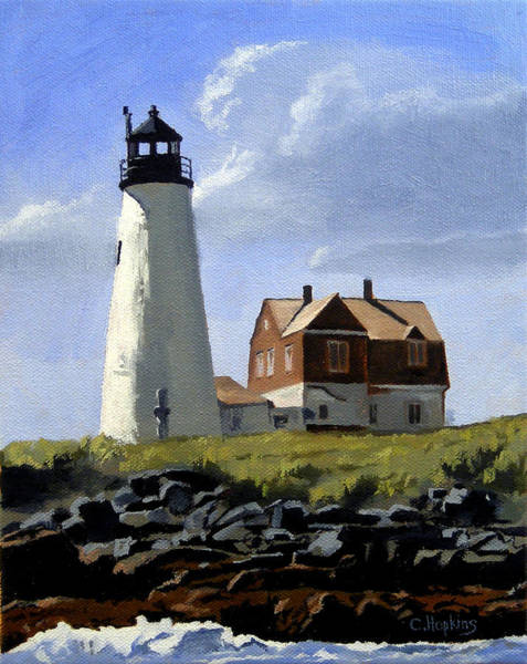 Wall Art - Painting - Wood Island Lighthouse Maine by Christine Hopkins